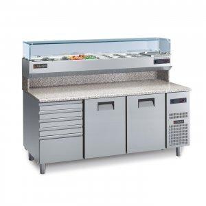 Chladící pizza stůl s žulovou deskou PC 200c